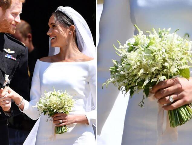 Meghan Markle con su ramo de novia tipo bouquet