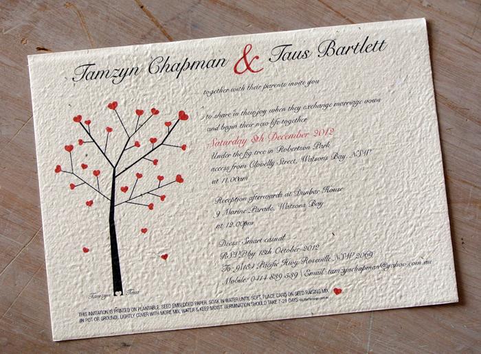 Invitación de boda sostenible