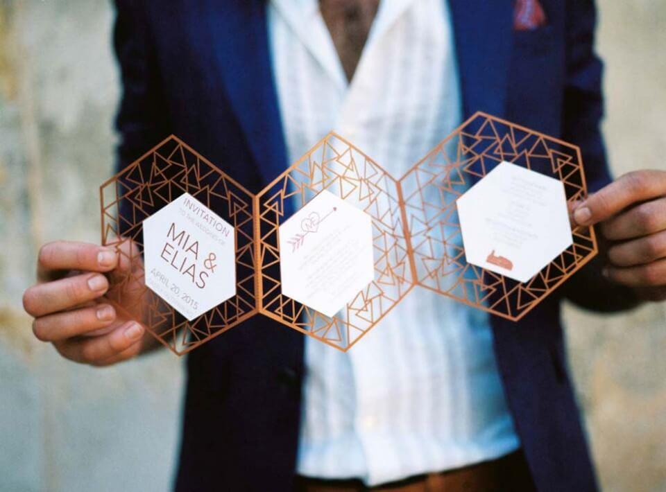 Papelería de boda moderna