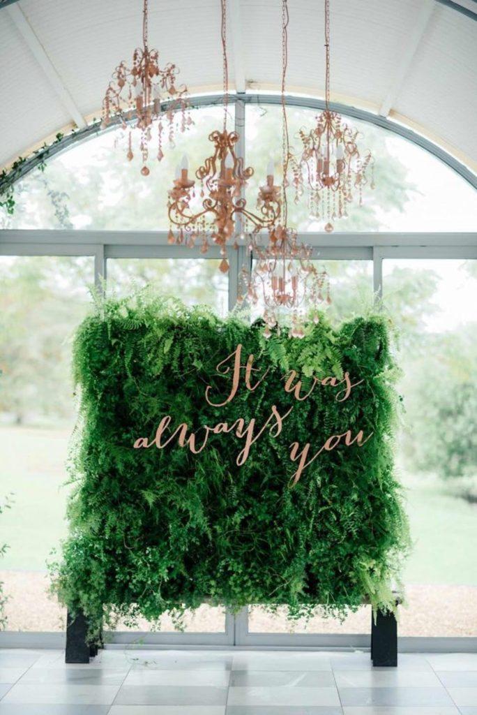 Muro vegetal para decorar una boda